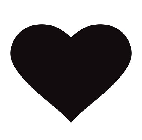 flat black heart icon isolated  white background vector