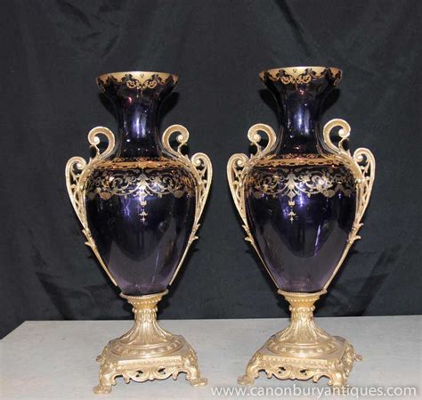 Gold Vases by Pair Glass Empire Vases Urns Painted Gold Leaf