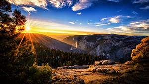 sunset mountains forest sky clouds yosemite