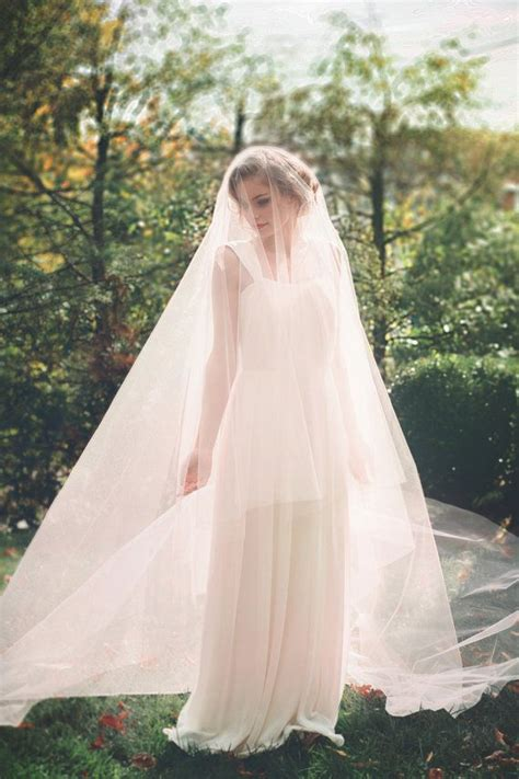 Blush Pink Cathedral Wedding Veil Bridal Veil Drop