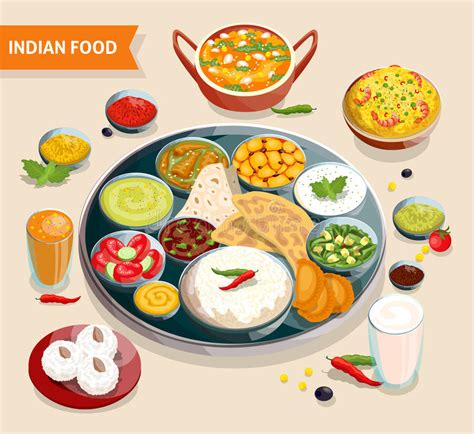 composition cuisine indian food composition stock vector illustration of indian 68747188