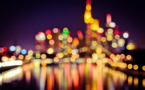 bokeh city hd wallpaper background images