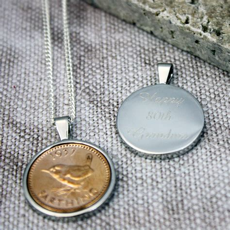farthing 1937 80th birthday coin necklace by ellie ellie notonthehighstreet