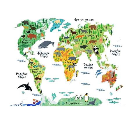 Animal World Map Wallpaper - sale removable diy mural wallpaper animal world map