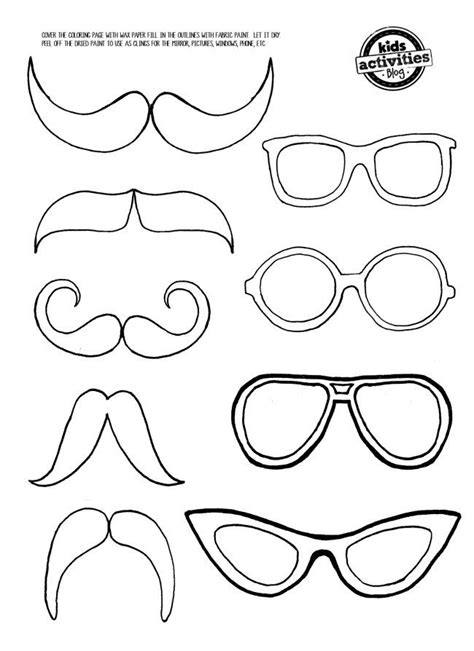 mustache  eye glasses mirror clings felt patterns