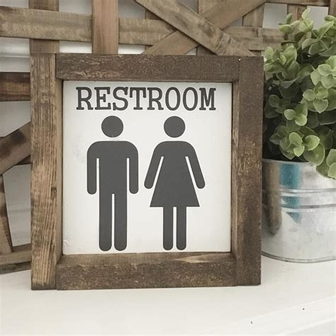 bathroom decor wood framed sign rustic farmhouse
