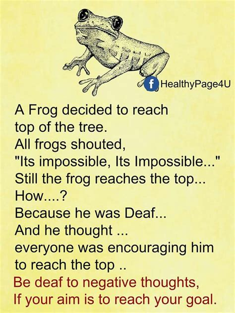 A frog decided to reach the top of the tree. All the frogs ...