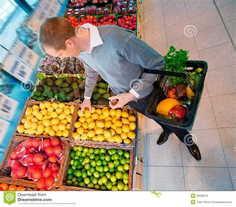 Male In Supermarket Buying Fruit Stock Photography - Image ...