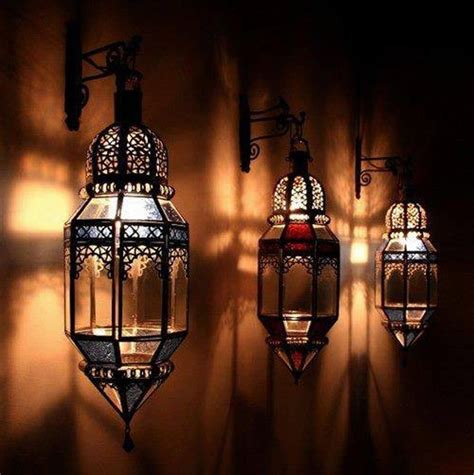 Home  Outdoor Wall Lantern Moroccan Gold Hand Blown Light
