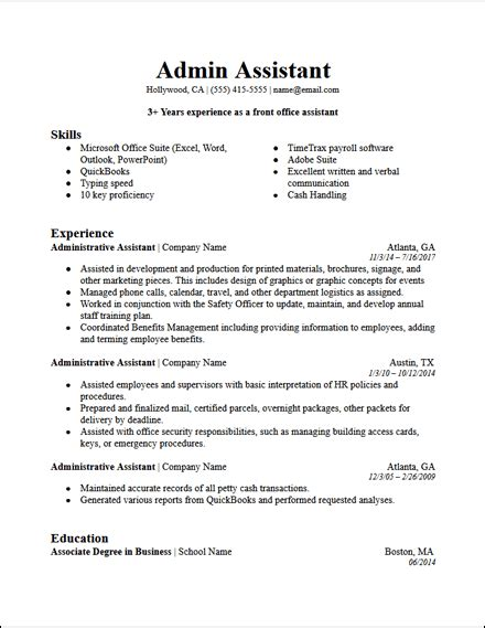 Professional Summary For Administrative Assistant by Office Administrative Assistant Resume Template