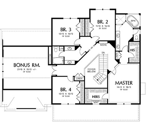 BHG 4340 2nd floor 4 bedrooms + rec room House plans