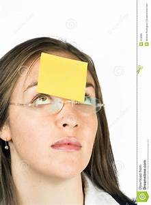 Memo Paper Business Woman With Post It Note Stock Image Image Of