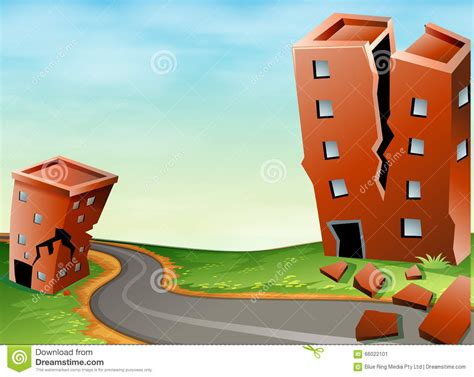 Scene Of Earthquake With Cracked Buildings Stock Vector