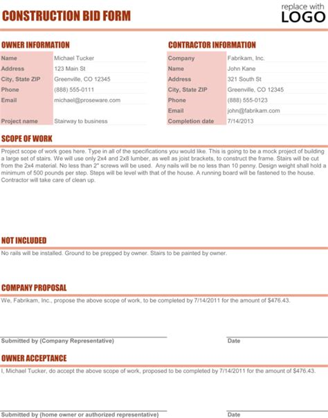 Contractors Bid Template by Construction Template Cyberuse