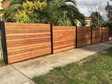 Merbau Front Feature Fence, Steel Posts, Horizontal Merbau