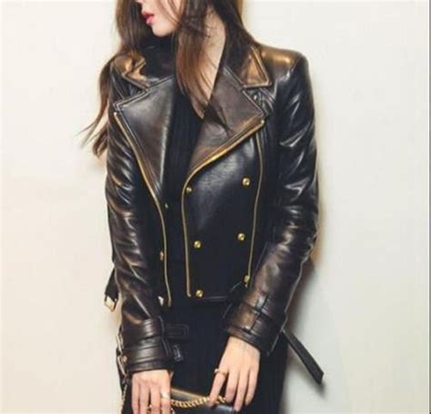 genuine leather motorcycle jacket women 39 s black moto style genuine leather motorcycle slim
