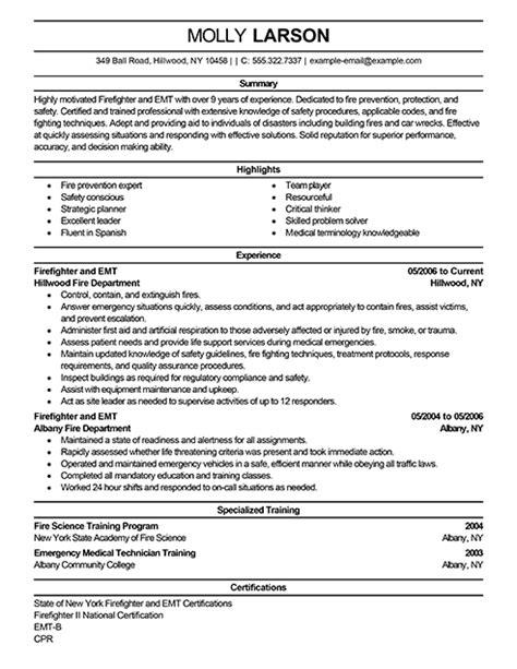 Best Resume For Firefighter by Sle Firefighter Resume Jennywashere