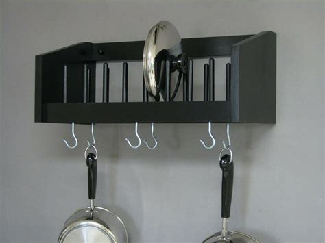 wall mounted rack wood pot pan utensil racks lid plate cook book shelf kitchen ebay