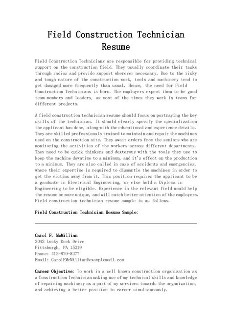 Technician Resume by Resume Sles Field Construction Technician Resume