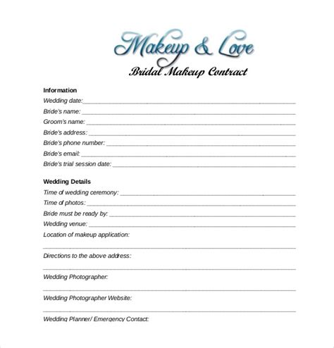 makeup artist contract form 23 wedding contract templates free sle exle
