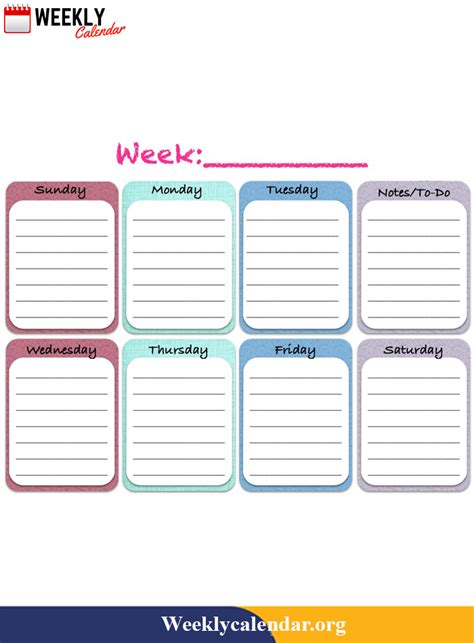 Create free printable calendars for 2021 in a variety of formats. Free Blank Printable Weekly Calendar 2021 Template In PDF ...