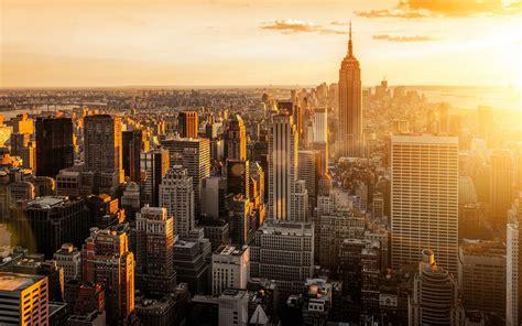 york city skyline sunset wallpaper reiseziele