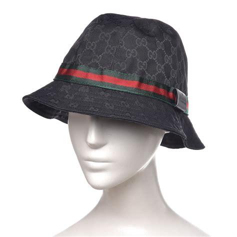 gucci monogram web bucket hat black