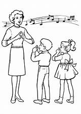 Teacher Coloring Pages Printable Singing Students Reading Story Toddler Forkids Read sketch template
