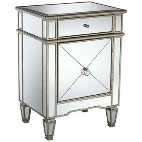 mirrored end tables nightstands mackenzie 21 1 2 quot wide mirror accent table chrome finish