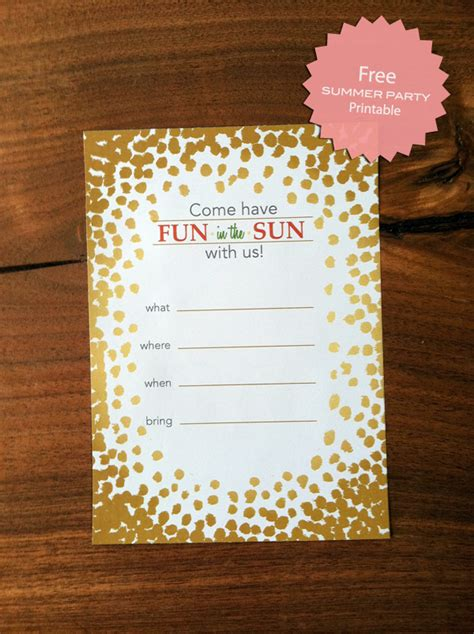 summer party invitation printable fab