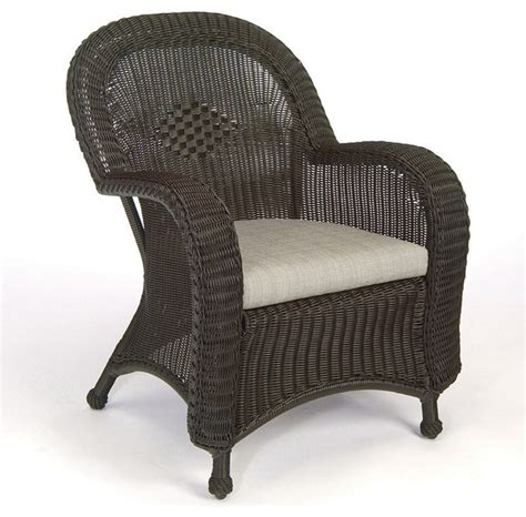 classic wicker dining arm chair with cushion traditional