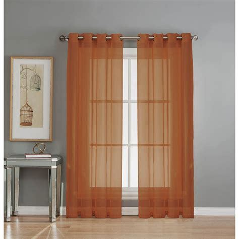 rust drapes window elements sheer sheer voile rust grommet