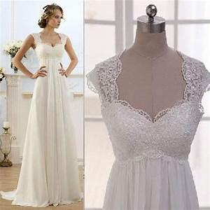 vintage wedding dress beach chiffon a line empire waist With boho maternity wedding dress