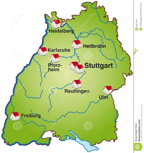 On four varied stages, the premium hiking trail entices you with wonderful views, breathtaking nature, cultural and also culinary delights. Map of Baden-Wuerttemberg stock illustration. Illustration ...