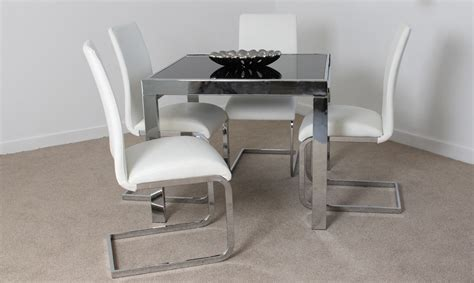 milan 90cm extending dining table 4 white chairs