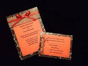 mossy oak camo and orange wedding invitation by With blue camo wedding invitations