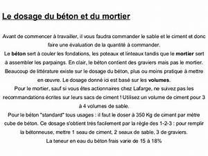 Dosage Pour Faire Du Beton : dosage ciment sable ~ Premium-room.com Idées de Décoration