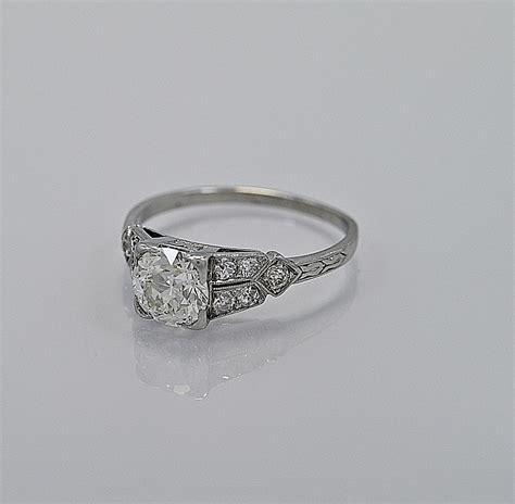 1 16ct diamond platinum art deco engagement ring