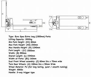 3500kg Euro Spec Hydraulic Pallet Truck With Extra Long 2