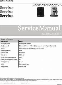 Gaggia Velasca Prestige Service Manual User