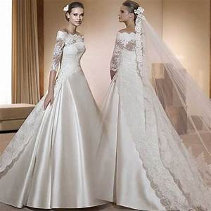 china lace wedding dresses korea satin bridal ball gowns a With 3 4 sleeve ball gown wedding dress