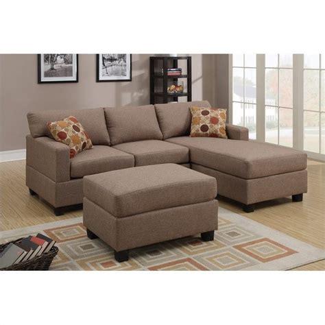 Poundex Reversible Sectional Sofa by Poundex Bobkona 3 Reversible Sectional