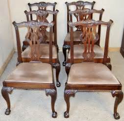 set of 6 mahogany chippendale style dining chairs antiques atlas