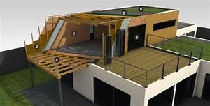 Maison Ossature Bois Toit Plat : maison ossature bois bois et passion ~ Melissatoandfro.com Idées de Décoration