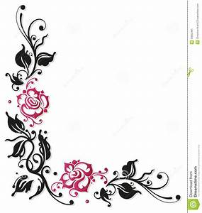 Pink Rose clipart flower border - Pencil and in color pink ...