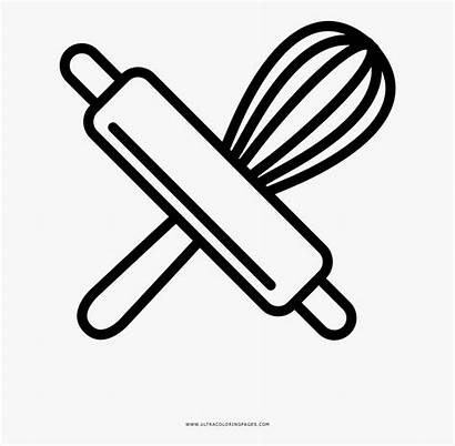 Rolling Whisk Baking Tools Coloring Clipart Transparent