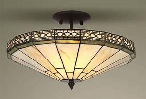 Mission tiffany style glass semi flush ceiling light