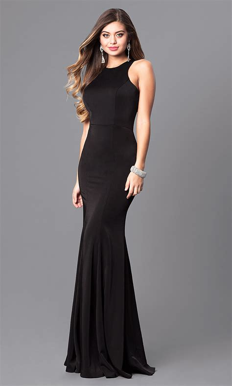 racerback jersey prom dress  high neck promgirl