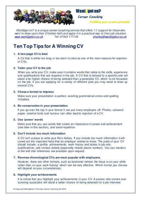 Cv Tips by Ten Top Tips For A Winning Cv