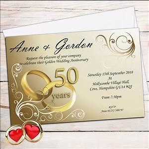 10 personalised elegant golden 50th wedding anniversary With golden wedding anniversary invitations templates uk